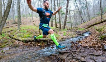 "Trophy Series Photo Contest Winner 7.27.17 - Richard Bugay - ""Leaping through life at the Hyner 25k Trail Challenge."" Photo by Lance Harshbarger"