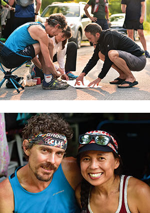 Scott Jurek with support crew on the Appalachian Trail