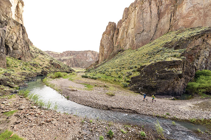 Day 2: Approaching Five Bar, where the West Little Owyhee and the South Fork of the main Owyhee River meet, just before the big swim.