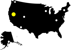 Map of the United States marking the location of the Western States 100.