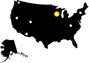 Map of the United States marking the location of the Ice Age trail race.